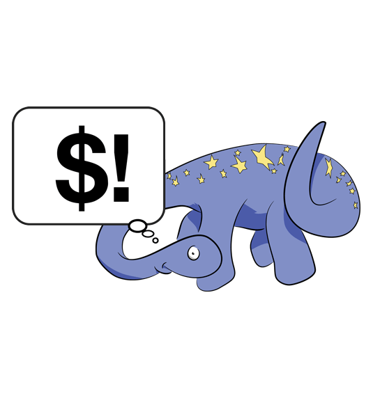Skepticon dinosaur cartoon, brontosaurus-like, thought-bubbling the money symbol with an exclamation mark